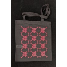 "Cotton Bag - ""bulldog"" black/pink print"