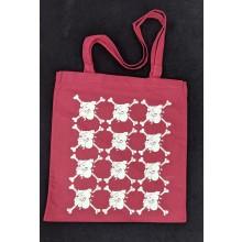 "Cotton Bag - ""bulldog"" oxblood red/white print"