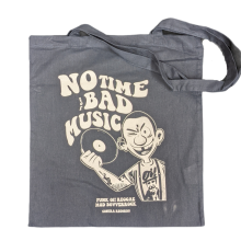 "Cotton Bag double sided print - ""no time for bad music/bulldog"" navy blue/white print"