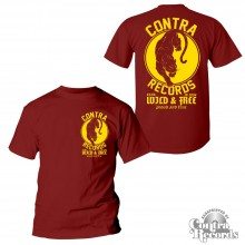 Contra Records - Panther T-Shirt oxblood red front/backprint