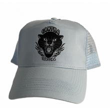 """Contra Records """"Black Panther"""" - Trucker Cap black on sky blue"""