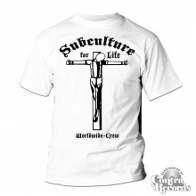 "Subculture for Life ""Worldwide-Crew"" Crucified T-Shirt white"