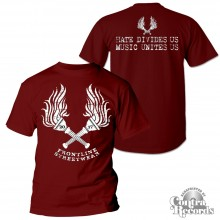 "Frontline Streetwear -""Torches"" T-Shirt oxblood red front/backprint"